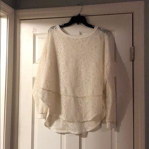 Free People- White Crochet Sweater - Size Small